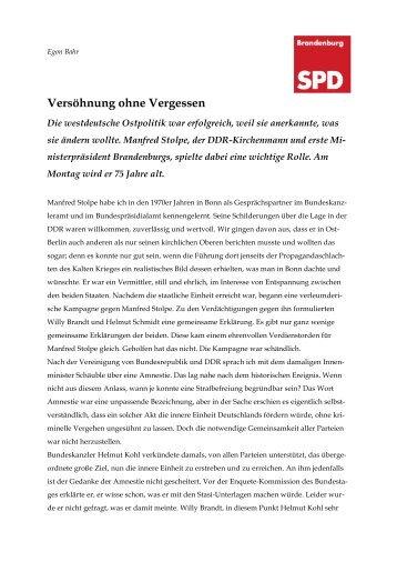 Versöhnung ohne Vergessen - SPD-Landesverband Brandenburg
