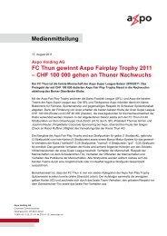 Medienmitteilung FC Thun gewinnt Axpo Fairplay Trophy 2011 ...