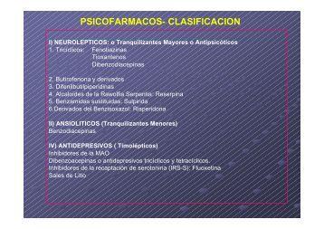 PSICOFARMACOS- CLASIFICACION