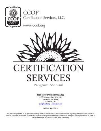CCOF Certification Program Manual- DISINTEGRATED
