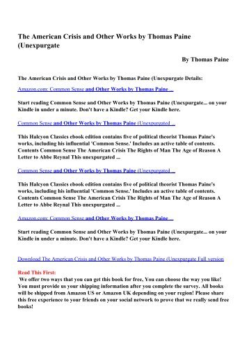 Download The American Crisis And Other Works By Thomas Paine