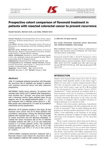 Prospective cohort comparison of flavonoid treatment in patients ...