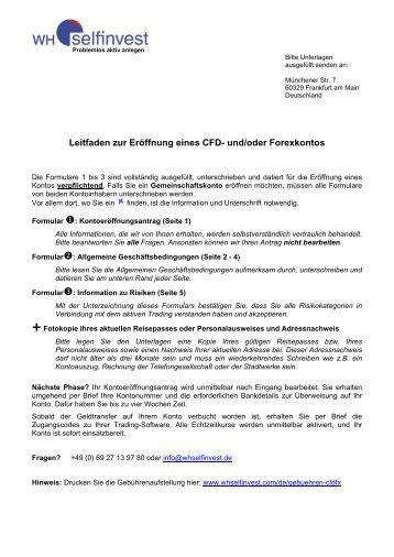 Leitfaden zur Eröffnung eines CFD- und/oder ... - WH SelfInvest