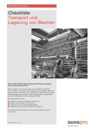 Checkliste: Transport und Lagerung von Blechen - Suva