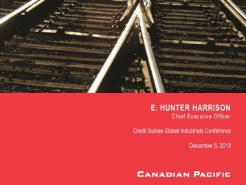 view the presentation slides - Canadian Pacific Railway