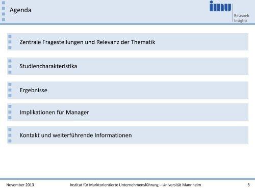 Customer Experience Management - IMU - Universität Mannheim