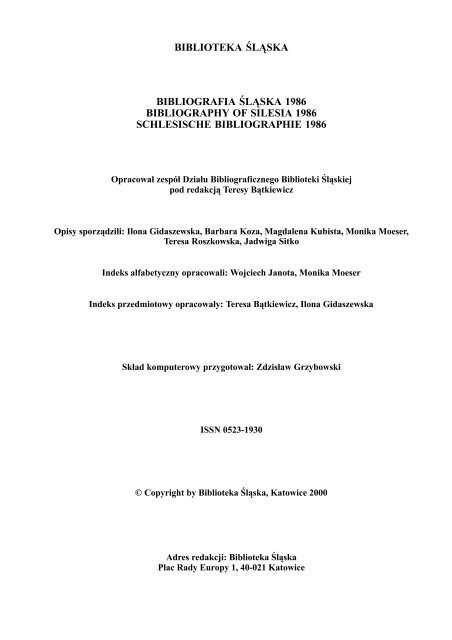 Bibliografia śląska 1986 Format Pdf 153 Mb