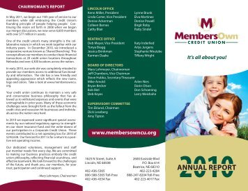 2010 Annual Report - MembersOwn Credit Union