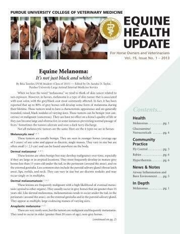 EQUINE HEALTH UPDATE - Purdue University School of Veterinary ...
