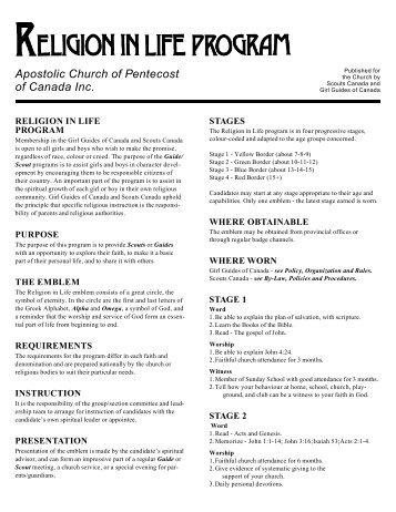 Apostolic Church of Pentecost of Canada Inc. - Scouts Canada