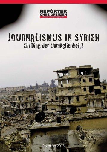 JOURNALISMUS IN SYRIEN - Reporter ohne Grenzen