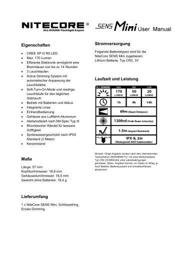 Bedienungsanleitung zur Sens Mini zum Download - selected-lights