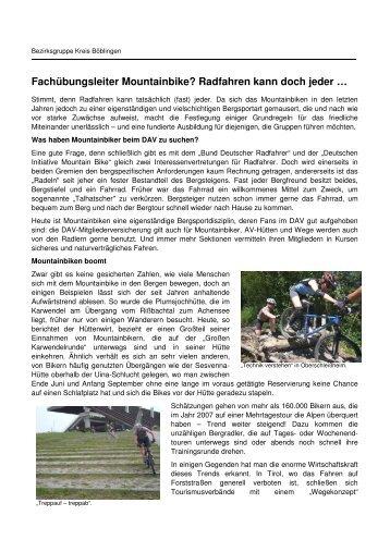 Fachübungsleiter Mountainbike? Radfahren kann doch jeder …