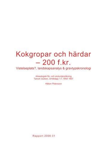 Kokgropar och härdar – 200 f.kr.