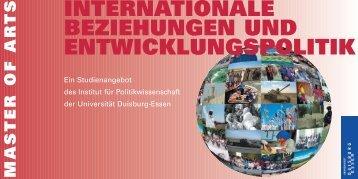 master of ar ts - Internationale Beziehungen und Entwicklungspolitik