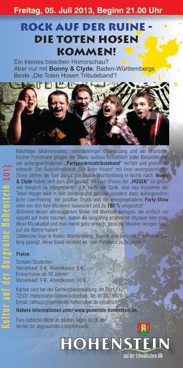 Kultur auf der Burgruine Hohenstein 2013 - Bonny & Clyde