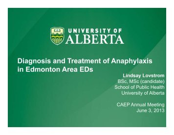 Diagnosis and Treatment of Anaphylaxis in Edmonton Area EDs