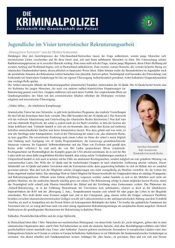 Jugendliche im Visier terroristischer Rekrutierungsarbeit - Die ...