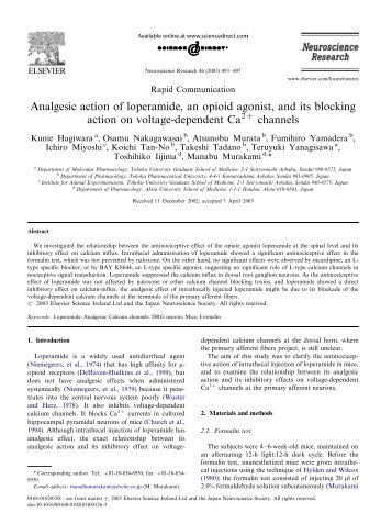 Analgesic action of loperamide, an opioid agonist, and its ... - ICB