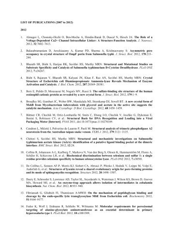 LIST OF PUBLICATIONS (2007 to 2012) 2012 1. Almagor L ...