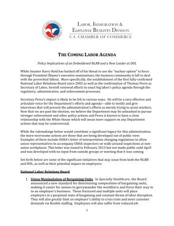 Document: The Coming Labor Agenda - US Chamber of Commerce