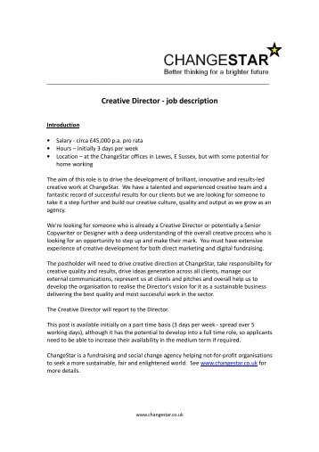 Creative Director   Job Description   Changestar