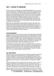NLP – A ROAD TO FREEDOM - NLP-Institut Zürich, Ronald Amsler