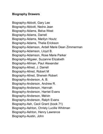 Biography Drawers Biography-Abbott, Gary Lee Biography-Abbott ...