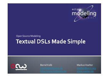 Open Source Modeling Bernd Kolb b.kolb@kolbware.de http://www ...