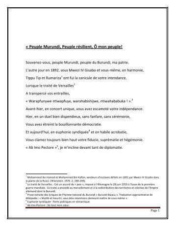 La Résilience Du Peuple Murundi Par Régine Burundi News