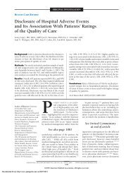 Disclosure of Hospital Adverse Events and Its Association With ...