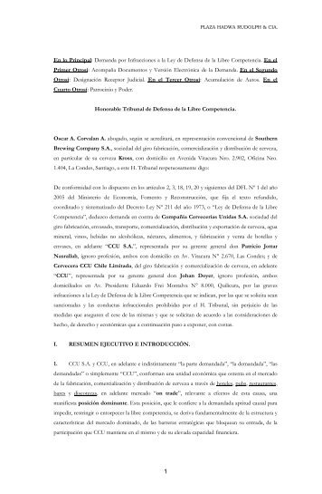 En lo Principal: Demanda por Infracciones a la Ley de Defensa de la ...