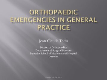 Managing Orthopaedic Emergencies in the Community