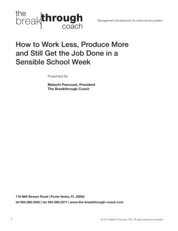 How to Work Less, Produce More and Still Get the Job Done in a ...