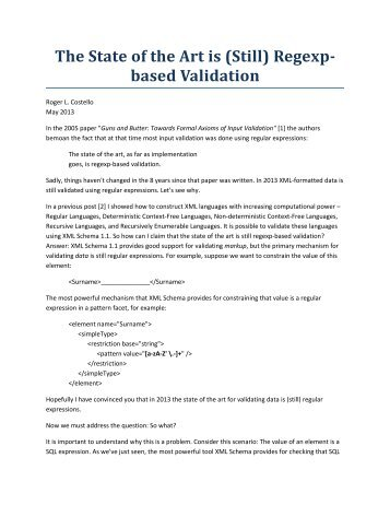 The State of the Art is (Still) Regexp-based Validation - xFront