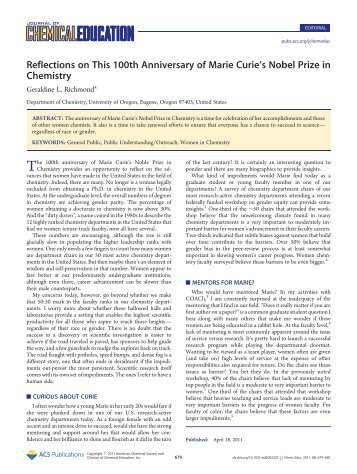 Reflections on This 100th Anniversary of Marie Curies Nobel Prize ...