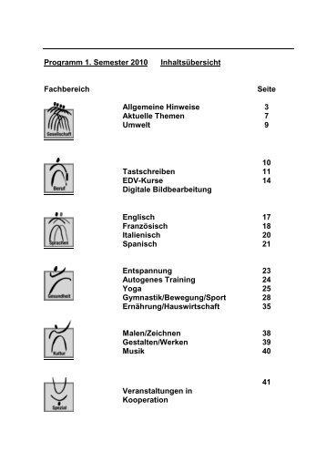 Programm 1. Semester 2010 Inhaltsübersicht Fachbereich Seite ...
