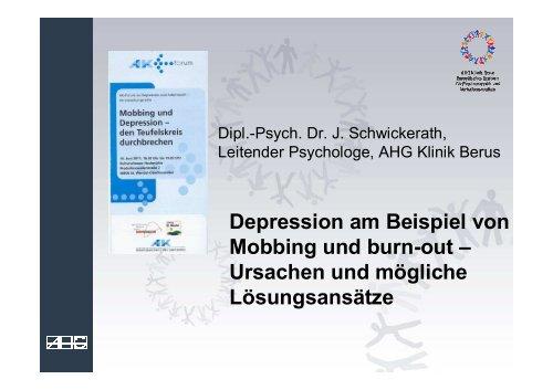 Depression Am Beispiel Von Mobbing Und Burn Out Ursachen Und