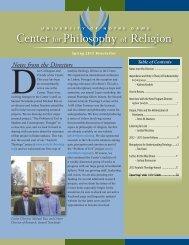 Spring 2013 Newsletter - Center for Philosophy of Religion