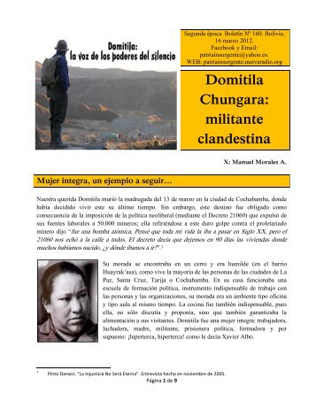 Domitila Chungara: militante clandestina - La Rosa Blindada