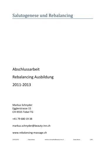 Abschlussarbeit zur Rebalancing Ausbildung - Rebalancing-Massage