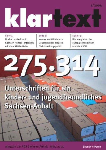 klartext 01/2004 - PDS Sachsen-Anhalt