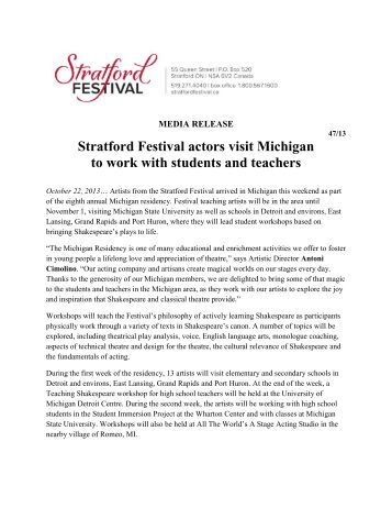 Stratford Festival actors visit Michigan to work with students and ...