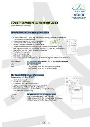 VÖEB – Seminare 1. Halbjahr 2012
