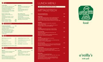 food LUNCH MENU MITTAGSTISCH - o'reilly's Irish Pubs!