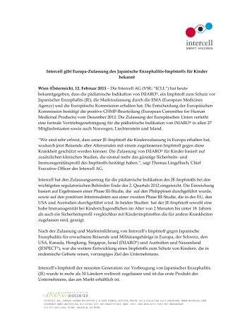 Intercell gibt Europa-Zulassung des Japanische ... - Chemie.at