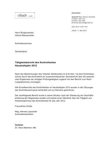 Tätigkeitsbericht des Kontrollamtes Haushaltsjahr 2012 - Villach