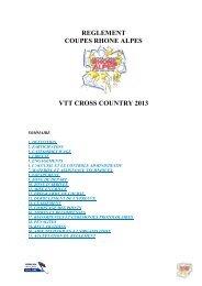 REGLEMENT COUPES RHONE ALPES VTT CROSS COUNTRY 2013