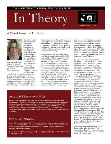 to read our newsletter. - The School of Criticism and Theory - Cornell ...