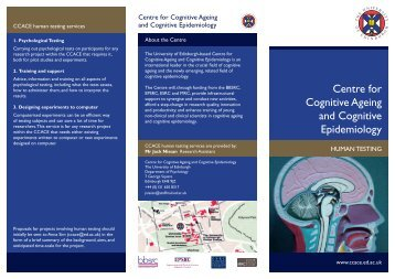Centre for Cognitive Ageing and Cognitive Epidemiology